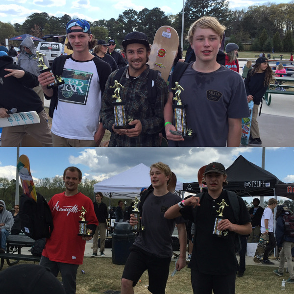 Top L to R: Pool Division Winners 3rd Place: Austin Gordon, 2nd Place Gage Gum, 1st Place: Jake Wooten. Bottom L to R: Street Division Winners 3rd Place: Tommy Stephan, 1st Place Jake Wooten, 2nd Place: Greyson Beal