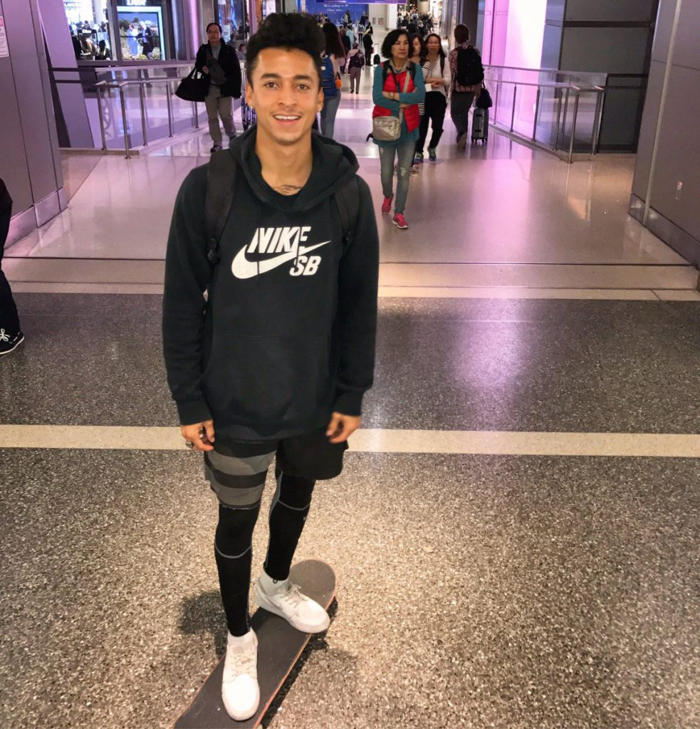 Nyjah and his odd choice of gear.