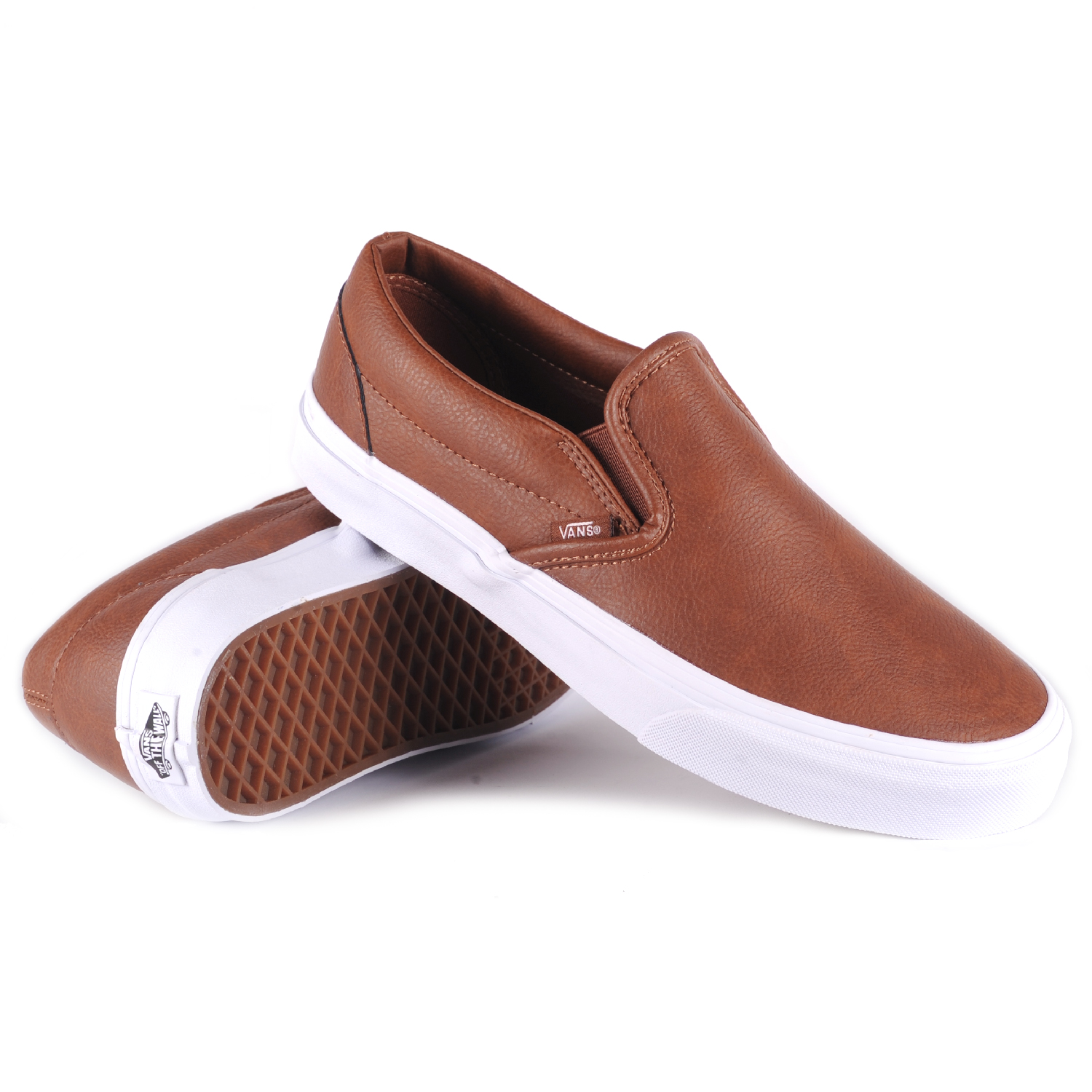 vans classic slip on leather brown s skate shoes ebay