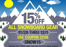 15% off Snowboard Gear
