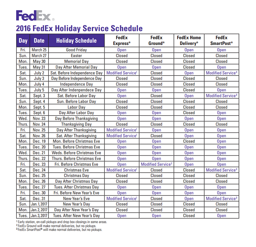 FedEx Express 2016 Holiday Service Schedule
