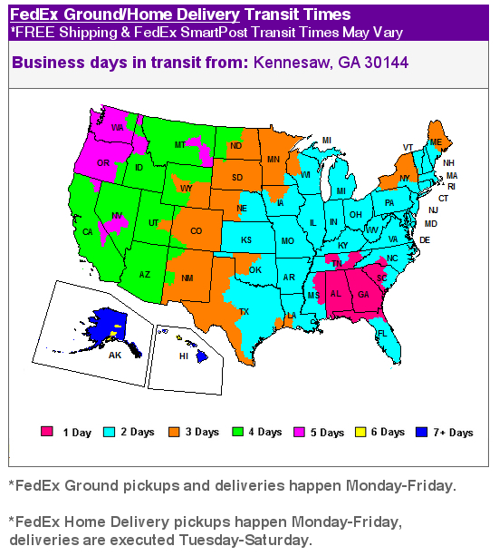 FedEx Ground Transit Times from Kennesaw, GA 30144
