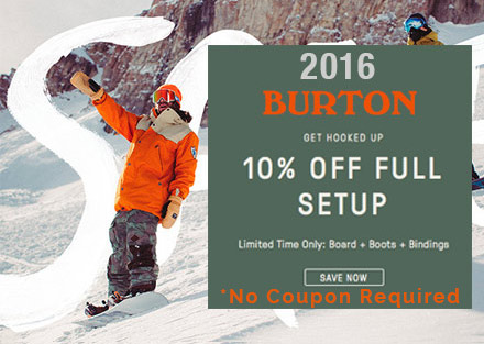 Save 10% off 2016 Burton Packages!