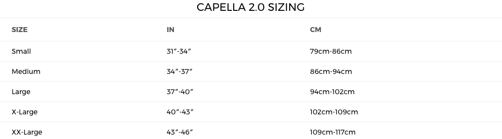 2018 Parks Capella 2.0 Sizing